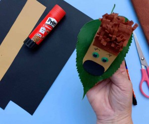 How to Make a Paper Hedgehog on a Fall Leaf