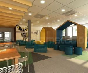 Ideal 3D Office Interior Cafe Area Design