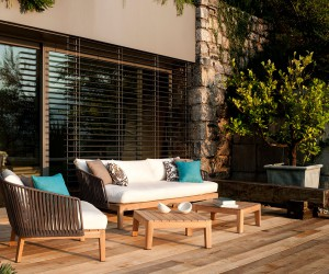 In the Right Mood: Weather-Resistant Outdoor Dcor in Teak and Handwoven Tricord