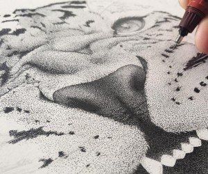 Incredible stippling Art Typography  Illustrations by Xavier Casalta