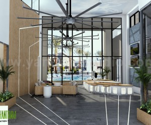 Interior Rendering of Club House Lobby View Design Ideas by Yantram Architectural Planing Companies, San Francisco - USA