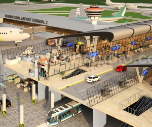 International Airport Terminal Concept exterior rendering services  3d floor design By Yantram architectural visualisation studio, Brisbane  Australia
