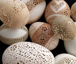 Intricately Hand-carved and Etched Egg Shells