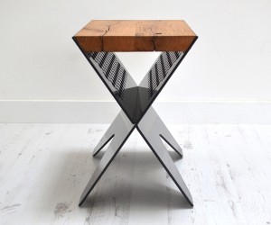 JAM CROSS RANGE  RECLAIMED OAK SIDE TABLE