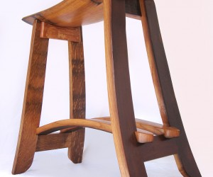 Kyoto, recycled oak wine barrel staves barstools, made from used French wine barrels