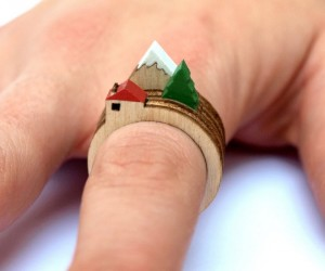 Laser Cut Wooden Landscape Ring