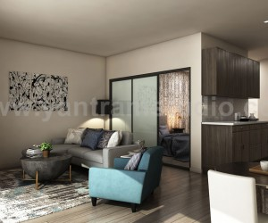 Latest Apartment with 3D Interior Modeling Ideas by Yantram Interior Design Studio, Miami - USA