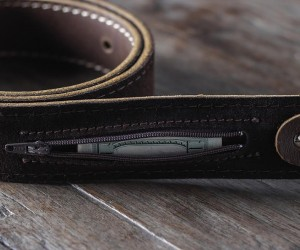 Leather Belt With Hidden Pocket