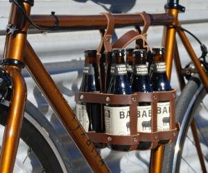 Leather Bicycle Beer Caddy