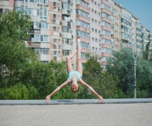 Levitation Photography: Little Ballerina On The Streets Of Bucharest by Andrei Mihai