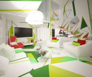 Life in expressionism: colorful geometrical interiors