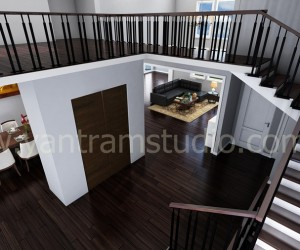 Living Room Interior Stairs Design View
