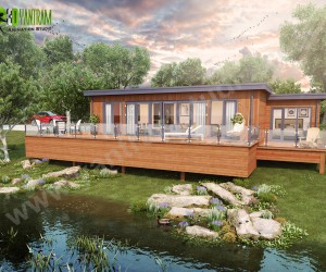 Lodge Exterior Rendering Landscape  Pond  Creative ideas Bern
