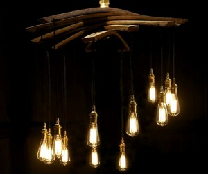 Lucciole, recycled wine barrel staves 12 lights chandelier