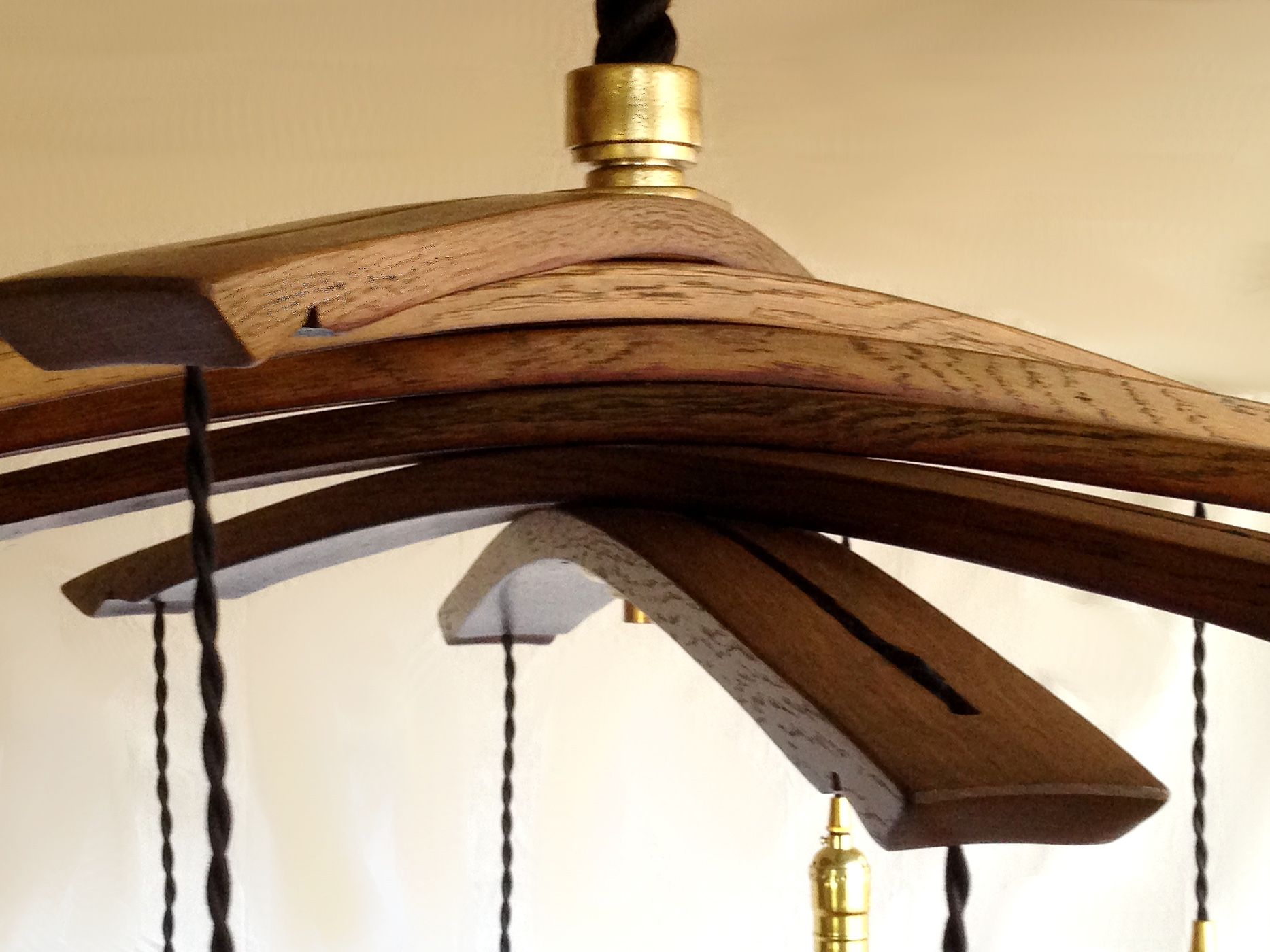Lucciole Recycled Wine Barrel Staves Large Chandelier