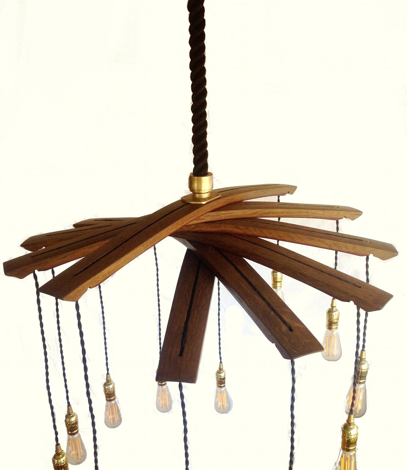 Wooden wine barrel stave chandelier chandelier designs lucciole recycled wine barrel staves large chandelier arubaitofo Gallery