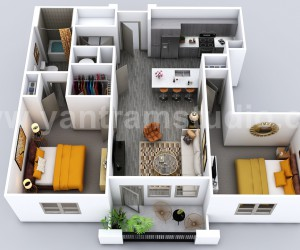 Luxuries 3D HomeHouse Floor Plan Design by Yantram Virtual Floor Plan Designer, Vegas - USA