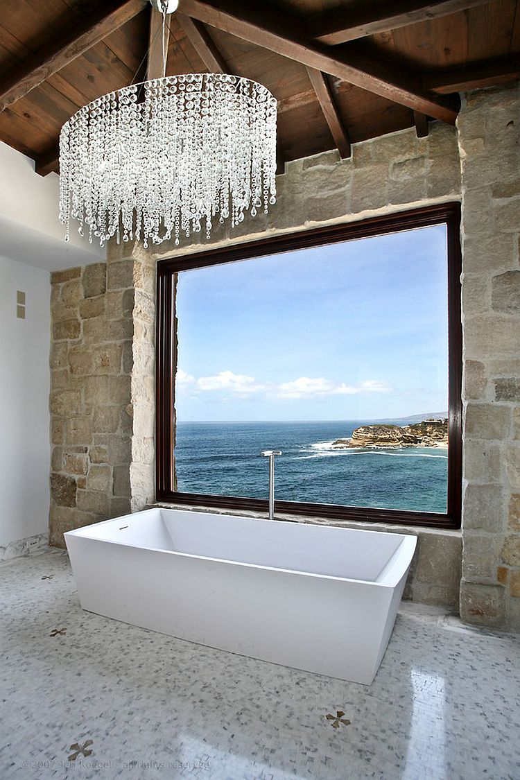 Luxurious bathrooms with a scenic view of the ocean for View bathroom designs