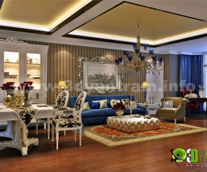 Luxurious Classic Residential Living Room Lighting View