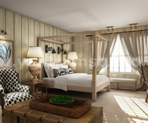 Luxurious Stylist Master Bedroom 3d interior rendering by Architectural Studio, New YorkUSA