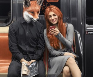 Matthew Grabelskys Human-Animal Hybrids Riding The Subway.