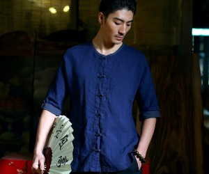 Mens Side Slits Ventilated Linen Shirt