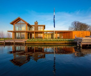 Mesmerizing Contemporary Escape on Waters Edge: Villa Rijpwetering in Holland