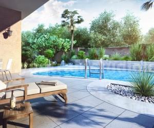 Modern 3D Exterior Pool Design