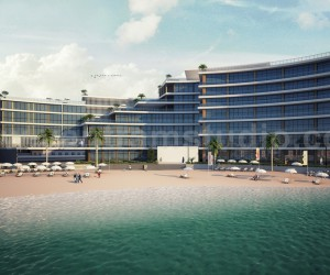 Modern 3D Exterior Rendering Beach Side Hotel View Design by Yantram Architectural and Design Services, Dubai - UAE