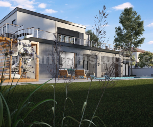 Modern 3D Exterior Villa Rendering Developed by Yantram 3D Architectural Design Studio, Bern - UK