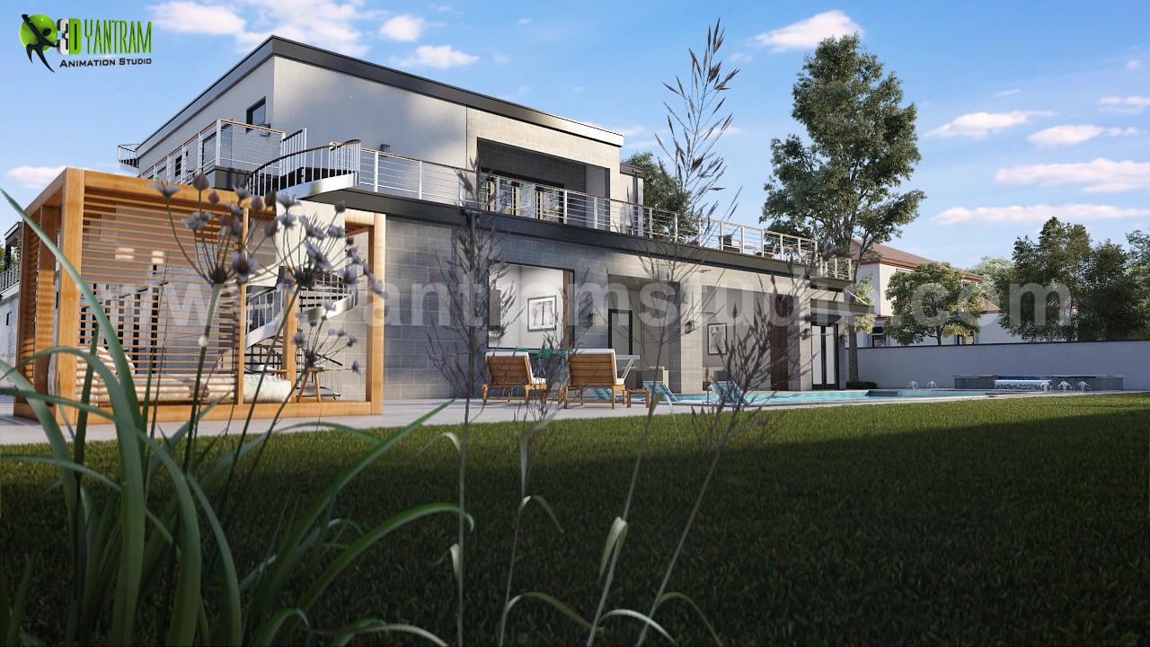 Modern 3d Exterior Villa Rendering Developed By Yantram 3d