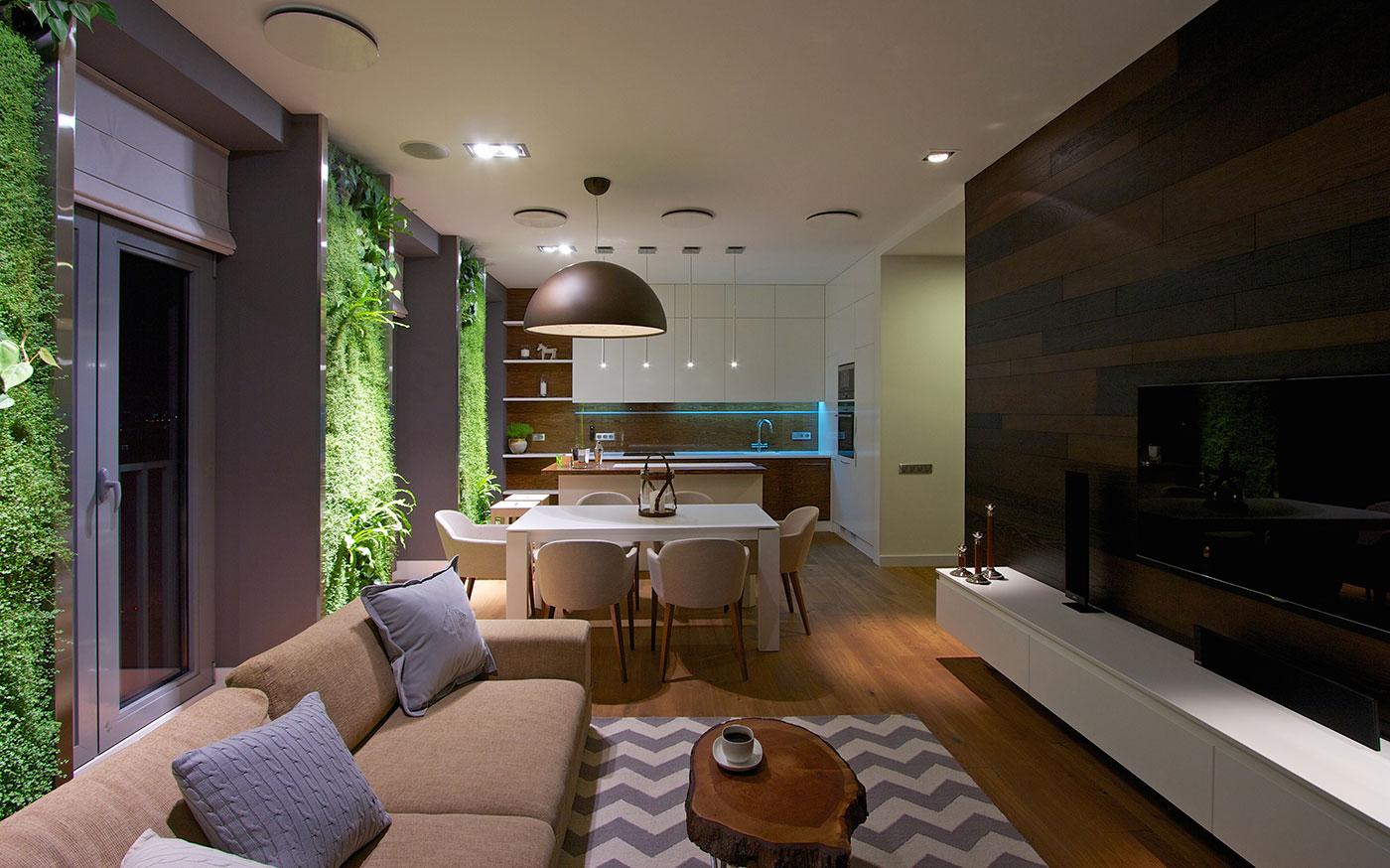 Modern Apartment Design Green Walls By Svoya - Modern-apartment-design