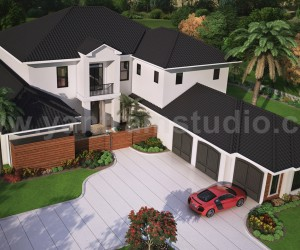 Modern Architectural Rendering Service top view with brown metal roof House by Yantram Architectural Rendering Companies, Washington - USA