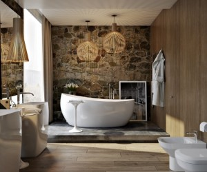 Modern bathroom: wood, stone and shadows