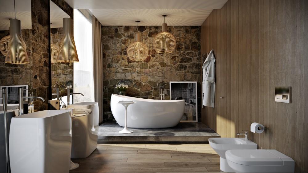 Modern bathroom: wood, stone and shadows