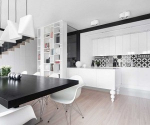 Modern black and white interior