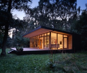 Modern forest cabin in Zealand Island