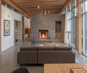 Modern House in Scotch Cove with a Stone Fireplace and Ocean Views