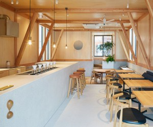 Modern Japanese Caf with a Cozy Residence Above Makes a Woodsy Impression