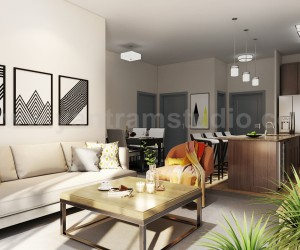 Modern Kitchen Living Room Combo  Decorative Bathroom 3D Interior Designers Ideas by Architectural Modeling Firm, Bangkok  Thailand