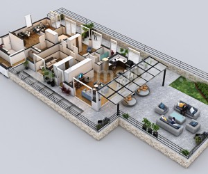 Modern Penthouse Virtual Floor Plan by Yantram architectural rendering companies, Dublin  Ireland