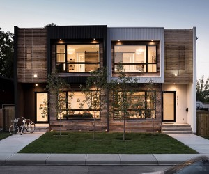 Modern Urban Infill in Calgary Showcasing Reclaimed Materials