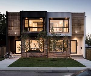 Modern Urban Infill in Calgary Showcasing Reclaimed Materials
