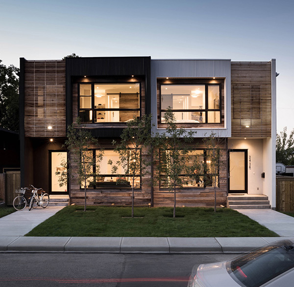 Waterfront Townhome Boasts Cool Urban Style: Modern Urban Infill In Calgary Showcasing Reclaimed Materials