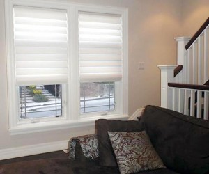 Modern Vignette Roman Shades by Night and Day Window Decor