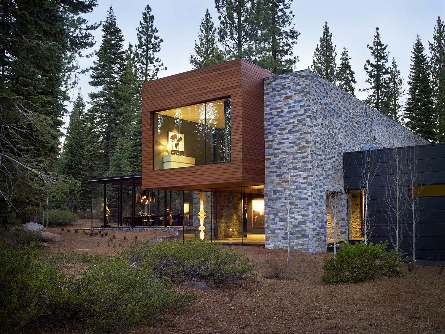 Modernist Refuge Of Stone Wood Steel And Glass In Martis