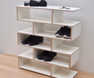 New 2019 - Shoe rack in birch  white laminate by Tidyboy