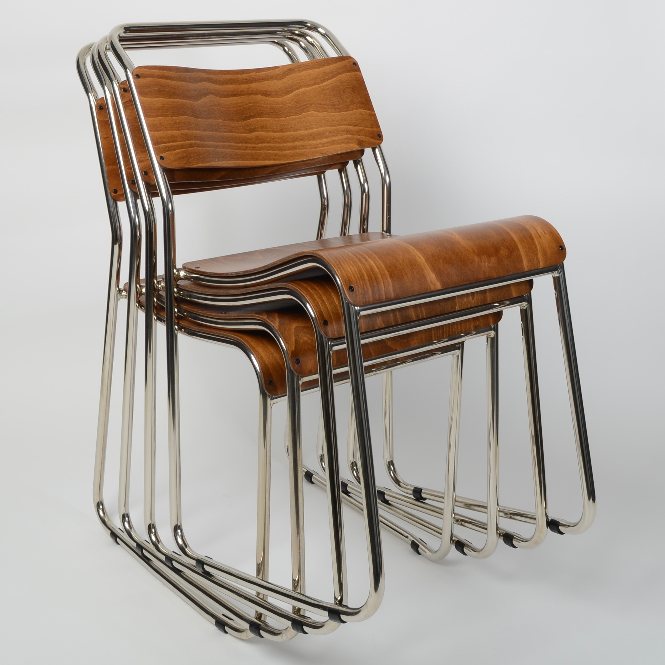 Nickel plated plywood stacking chair