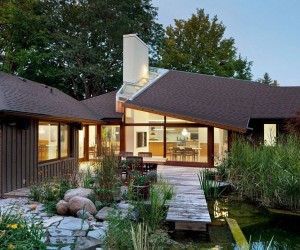 Nifty Renovation in Ontario Connects the Interior with Landscaped Pond Outside