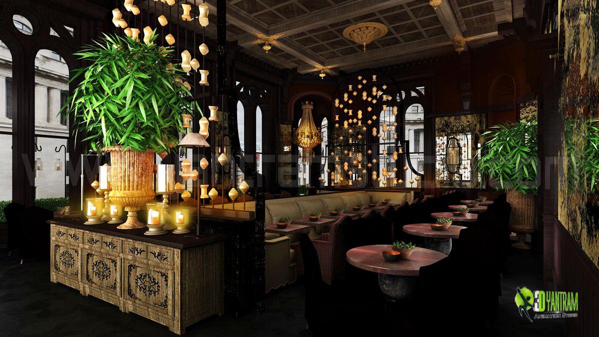 Night view d interior cgi restaurant